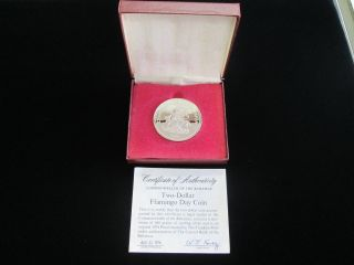 1974 Proof Two Dollar Flamingo Day Coin Bahamas Sterling Silver Unc W/ photo
