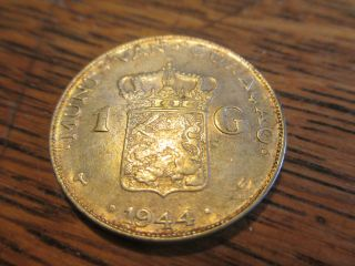 1944 D Curacao One Gulden Silver Coin Ef Gold Toning - photo