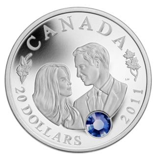 2011 $20 H.  R.  H.  Prince William Of Wales And Miss Catherine Middleton Silver Coin photo
