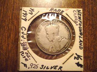 Newfoundland,  Canada,  50 Cents,  Half Dollar,  Sterling Silver,  King George V photo