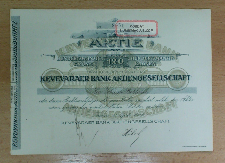 Yugoslavia 1920 Bond Stock/ Share/ Akcija Kovinska Banka / Kovin Bank Stocks & Bonds, Scripophily photo
