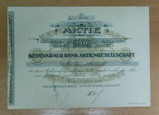 Yugoslavia 1920 Bond Stock/ Share/ Akcija Kovinska Banka / Kovin Bank photo
