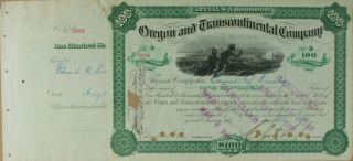 S1015 Oregon And Transcontinental Company 1800s Stock Certificate Green photo