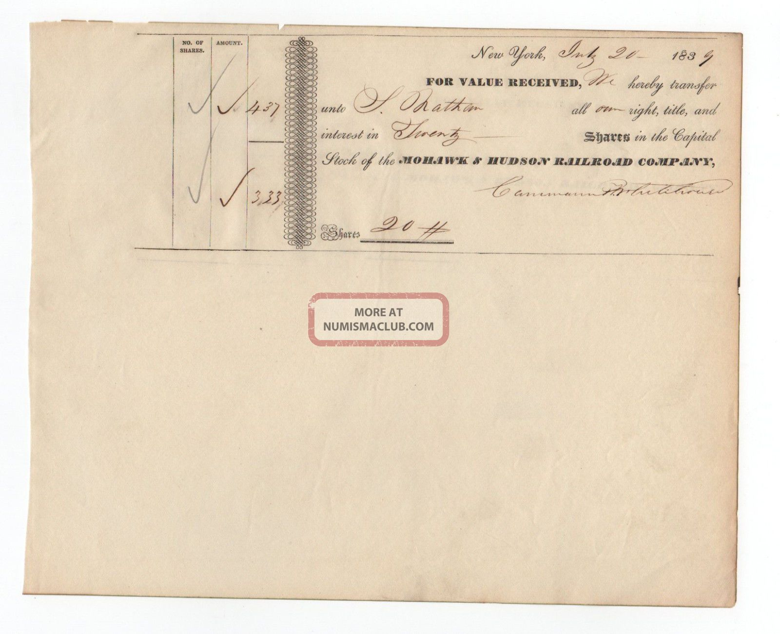 1839 Mohawk And Hudson Railroad Company Stock Transfer Transportation photo
