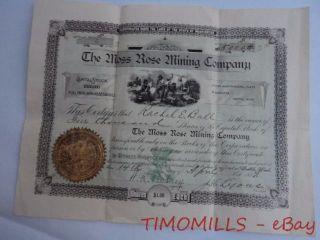 1897 Moss Rose Mining Company Stock Certificate Seattle Washington Antique 6 photo