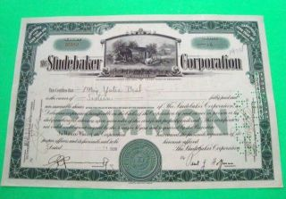 Scarce 1930 ' S Studebaker Corp Stock Certificate Green Studebaker Car Vignette photo