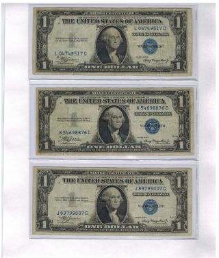 (3) United States 1935a Silver Certificate Dollar Bills photo