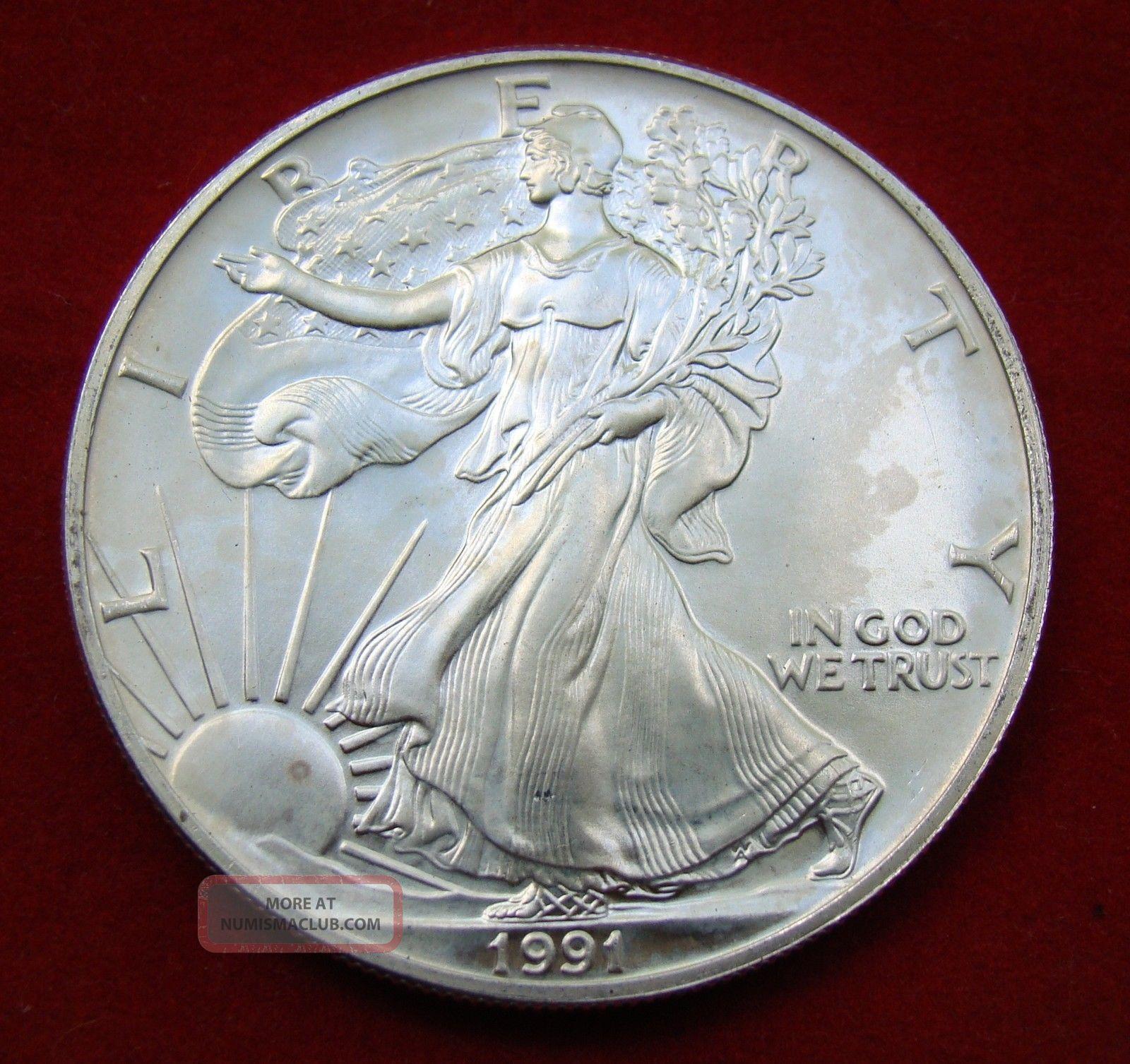 1991 Silver Dollar Coin 1 Troy Oz American Eagle St