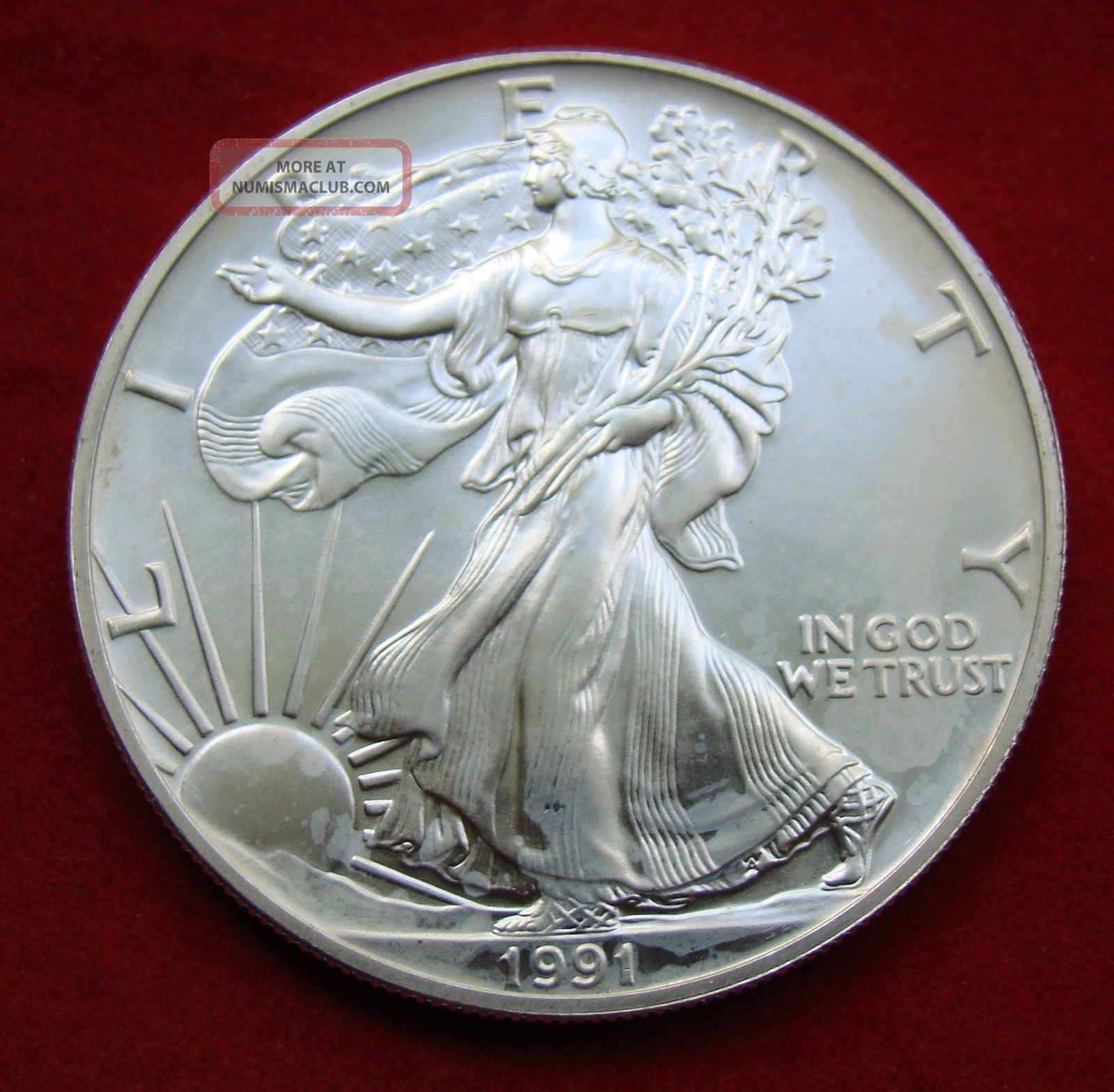 1991 Silver Dollar Coin 1 Troy Oz American Eagle St
