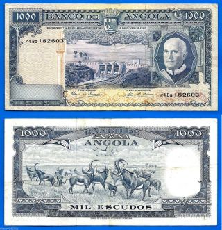 Angola 1000 Escudos 1970 Americo Tomas Dam River Animal World Ppal photo