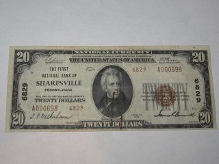 $20 1929 Sharpsville Pennsylvania Pa National Currency Bank Note Bill 6829 Xf, photo