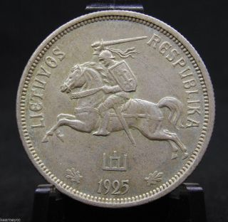 1925 Penki Litai Lithuania Silver Coin photo