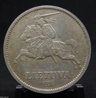 1936 10 Litu Lithuania Lietuva Silver Coin photo