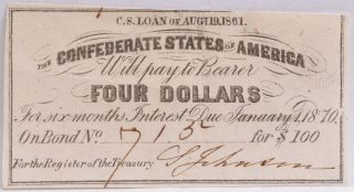 Civil War Confederate $100 Bond C.  S.  Loan 1861 $4 Coupon Richmond Va 715 photo