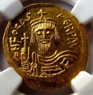 Byzantine Empire Ad 602 - 610 Ch Ms Ngc Ancient Gold Solidus,  Phocas 5/5 photo