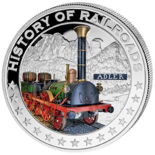 Liberia 2011 5$ History Of Railroads Adler Proof Silver Coin photo