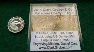 Daniel Carr 2014 3 Gram.  999 Palladium Round 1 Of 22 Minted Rare photo