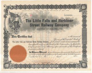Little Falls And Hermiker Street Railway Co Railroad Ny York Stock Certif photo