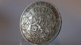 5f Leopold Ii 1875 0.  90 Silver Xf photo