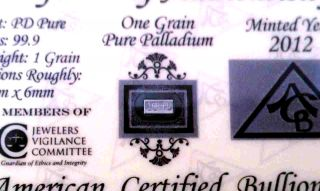 (x 3) Acb Palladium Bullion Minted 1grain Bar 99.  9 Pure Pd W/ Certificate photo
