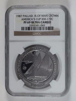 1987.  999 Fine Palladium 1 Oz America ' S Cup Challenge Ngc Pf69 Uc - Pm21 - Aa photo