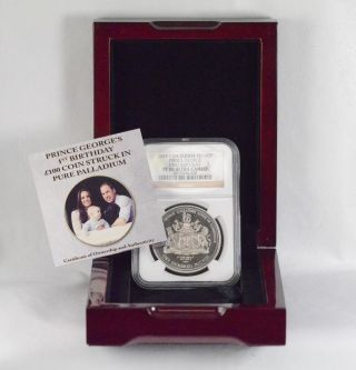 2014 £100 Pd T.  Da Cunha Prince George ' S 1st B - Day Palladium Proof Coin Ngc Pf70 photo