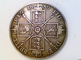Vintage World Coin 1889 England Great Britain Double Florin Silver Ak30 photo