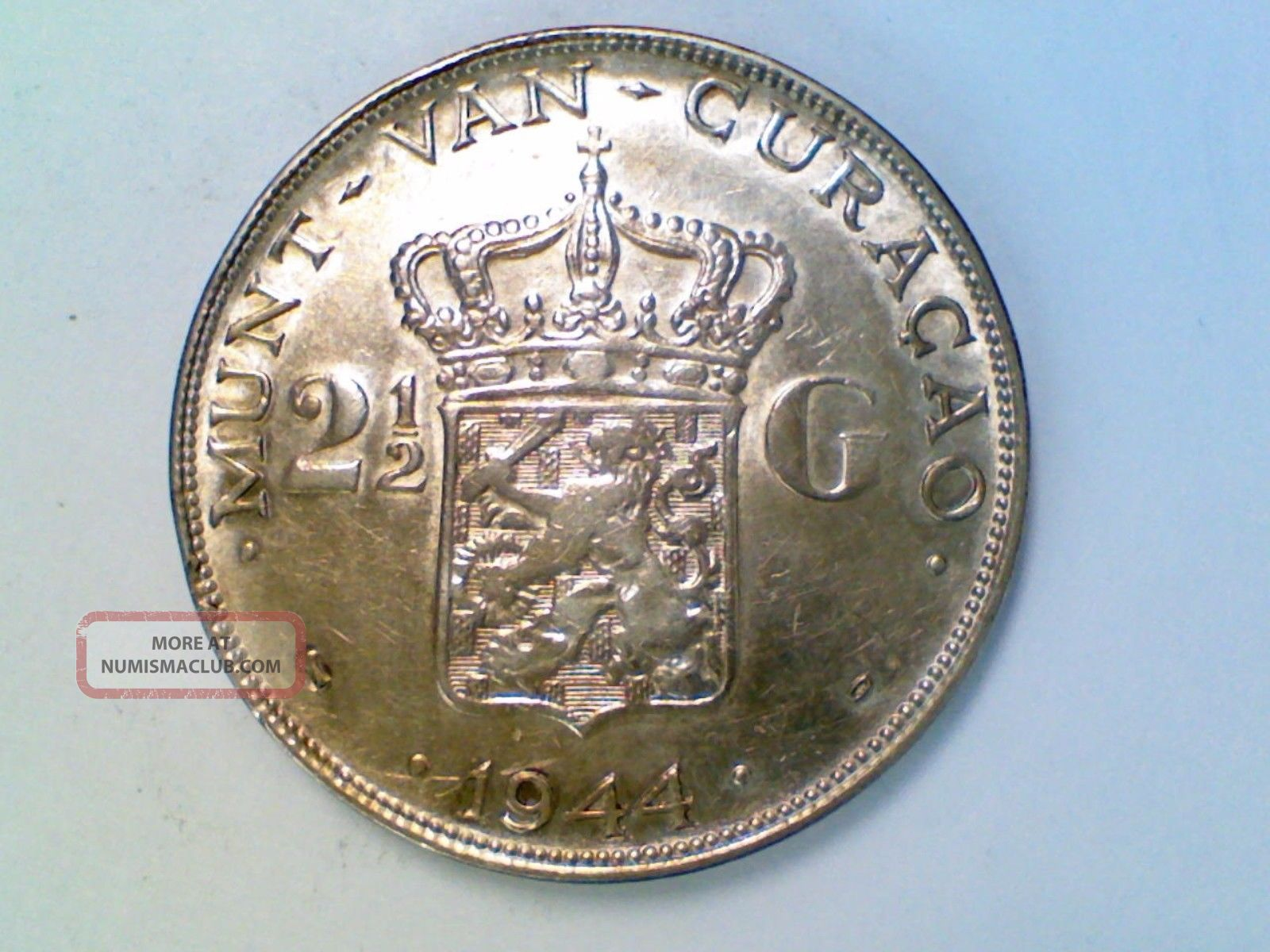 Vintage World Coin 1944 D Curacao 2 1/2 Gulden Silver Ak28 Other Coins of the World photo
