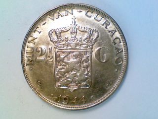 Vintage World Coin 1944 D Curacao 2 1/2 Gulden Silver Ak28 photo