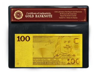 24k Netherlands Gold Banknote 100 Gulden Pure Gold Note Uncirculated photo