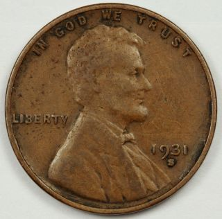 1931 - S Lincoln Head Cent.  V.  F.  82830 photo