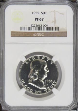 1955 Proof Franklin Half Dollar Ngc Pf67 photo