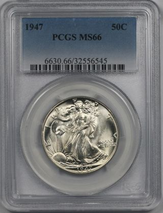 1947 Liberty Walking Half Dollar 50c Ms 66 Pcgs photo