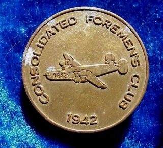 1967 Convair Management Club 25th Anniversary Token Consolidated Foremen ' S Club photo