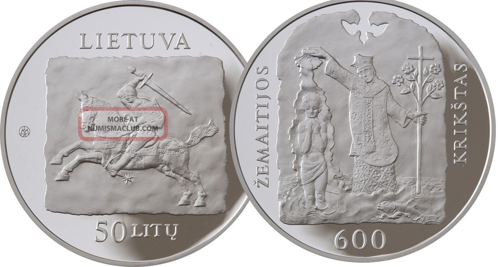 Lithuania Silver Coin 50 Litu Proof 2013 Christening Of Samogitia Km 194 Europe photo