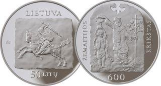 Lithuania Silver Coin 50 Litu Proof 2013 Christening Of Samogitia Km 194 photo