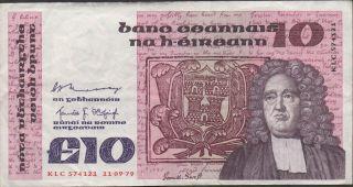 Ireland 10 Pound 11.  09.  1979 P 72a Prefix Klc Circulated Banknote photo