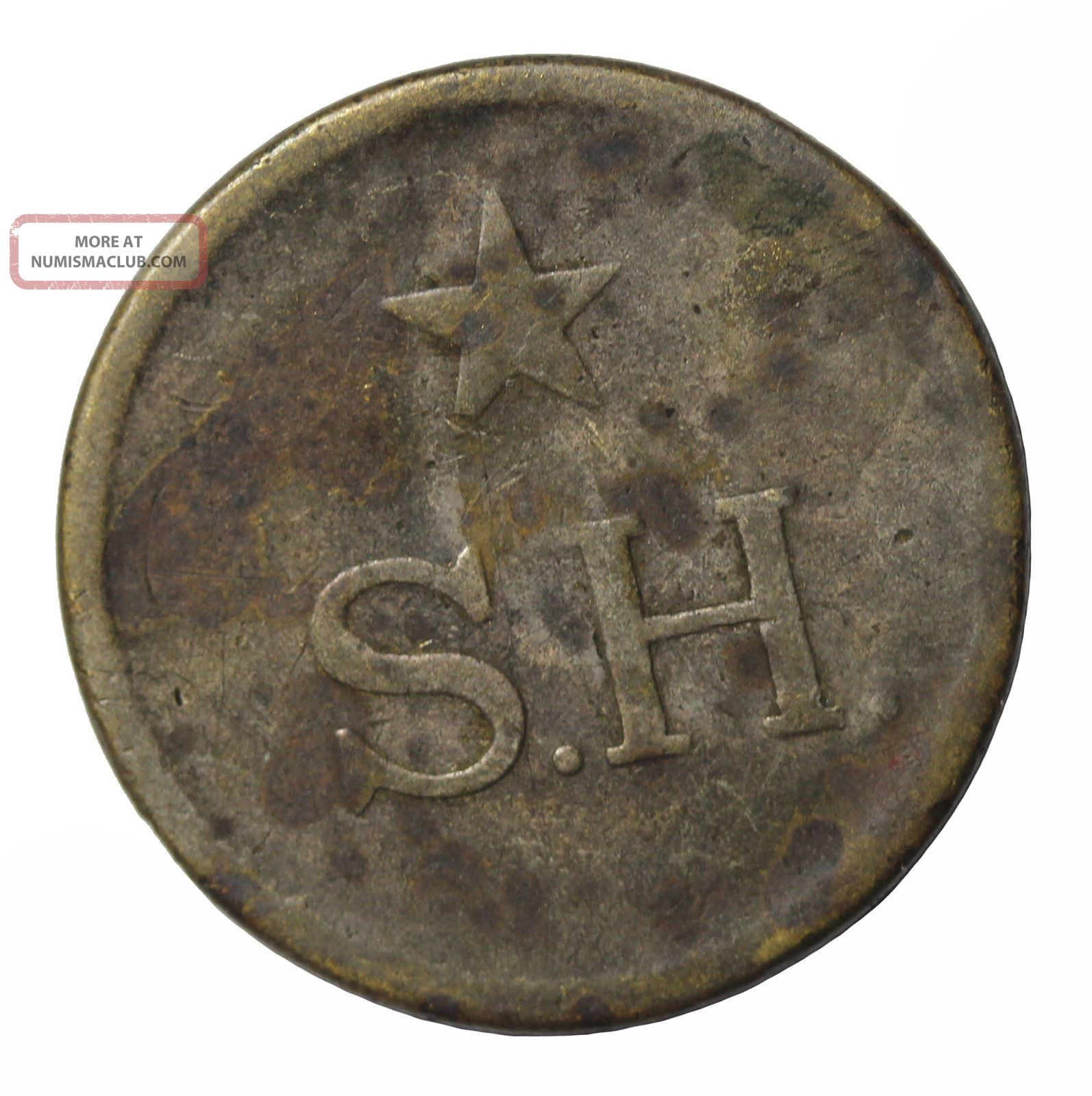 Scarce Colombia S.  H.  Mitad Token Brass Rulau Mit - 18 - 19 Exonumia photo