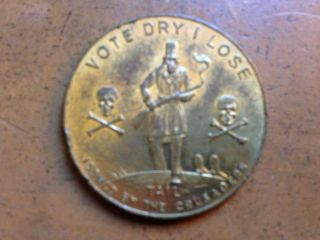 Prohibition Era Good Luck Token Vote Wet I Win / Vote Dry I Lose photo