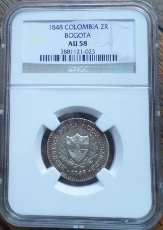 Colombia Coin 2 Reales 1848 Ngc Au 58 photo