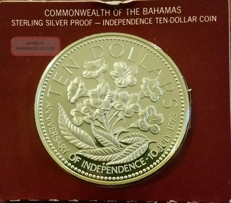 Silver 1974 Commonwealth Of The Bahamas 10 Dollar