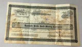 1908 Stock Certificate Rawhide Pride Gold Mining Company Nevada 1000 Shares photo