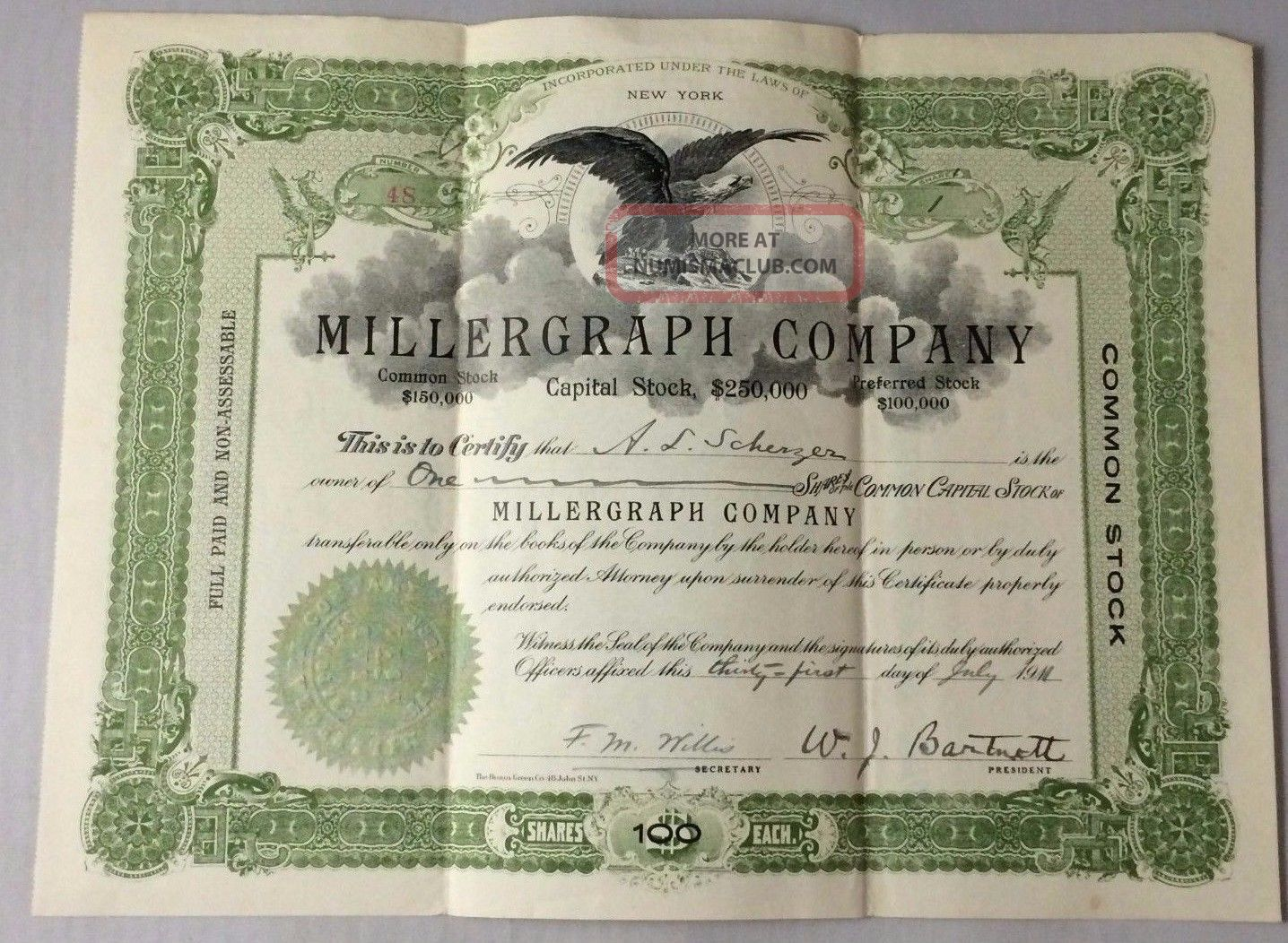 1911 Stock Certificate Millergraph Company A.  L.  Scherzer 100 Shares Stocks & Bonds, Scripophily photo