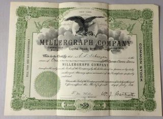 1911 Stock Certificate Millergraph Company A.  L.  Scherzer 100 Shares photo