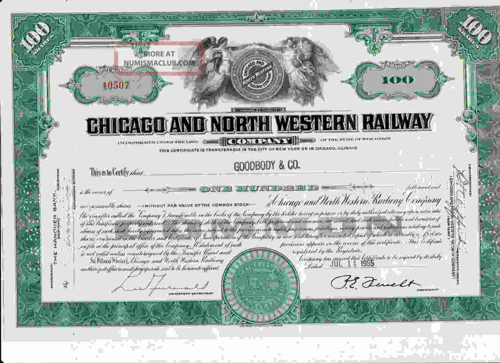 40507 Green Chicago & North Western Railway Company Stock Certificate Railroad Transportation photo