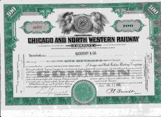 40507 Green Chicago & North Western Railway Company Stock Certificate Railroad photo