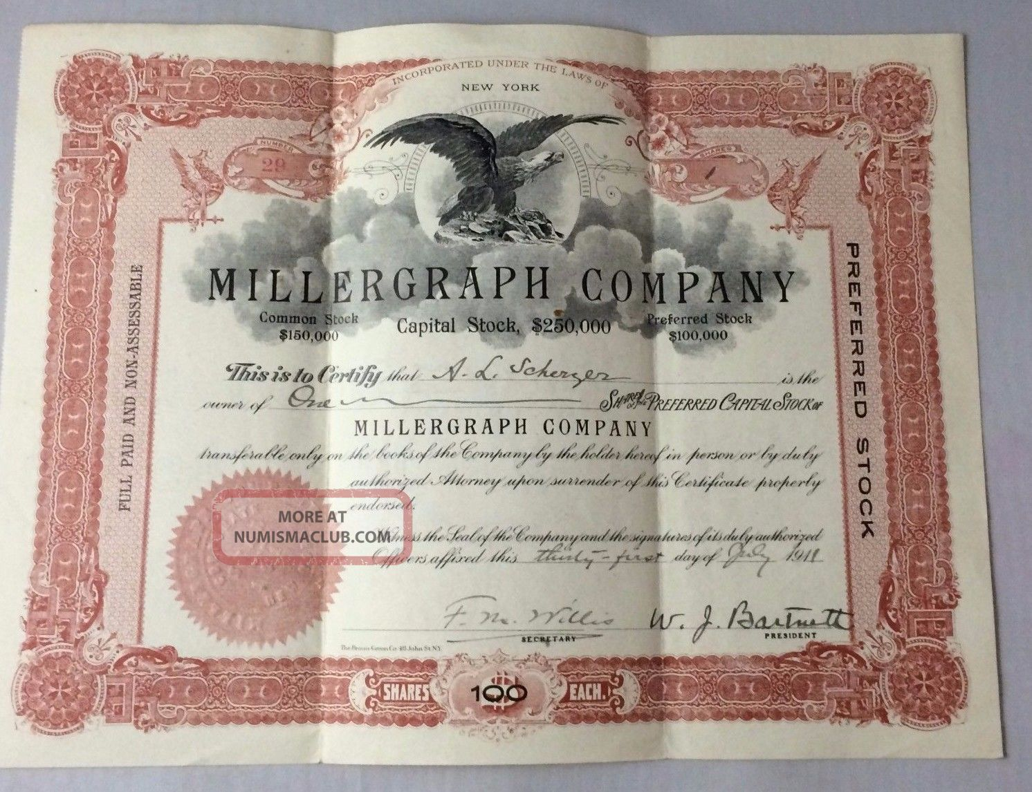 Millergraph Company 1911 Stock Certificate A.  L.  Scherzer 100 Shares Stocks & Bonds, Scripophily photo