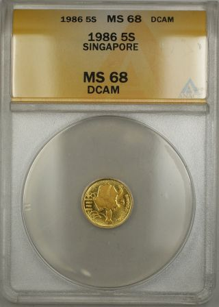 1986 Singapore 5 Singold Gold Coin Anacs Ms - 68 Dcam photo