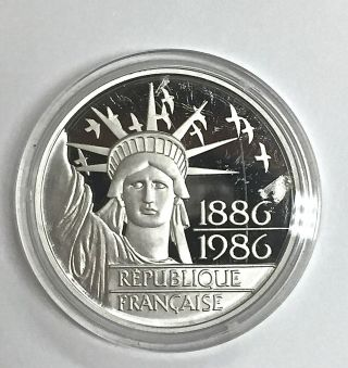 1986 Platinum France 100 Francs Statue Of Liberty 20g Proof Coin W/ Box & photo