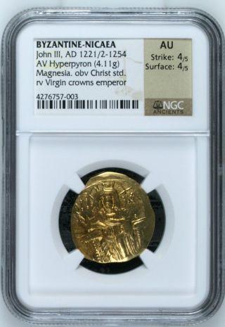 Byzantine Nicaea John Iii Ducas - Vatazes (1221/2 - 1254) Gold Av Hyperpyron Ngc Au photo